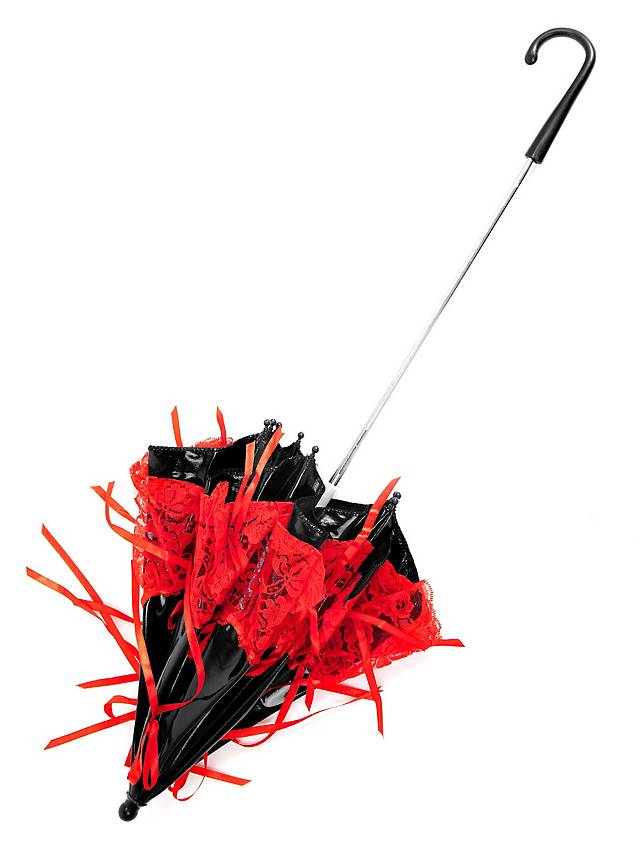 Victorian Parasol Black Red Maskworld Com